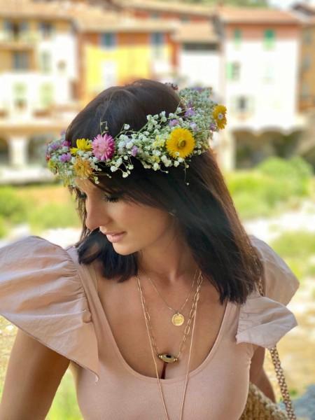Couronne de tête en fleurs séchées